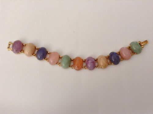 Vintage Joan Rivers Pastel Glass Cabachon Bracelet