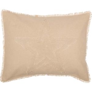 BURLAP-VINTAGE-STAR-Standard-Sham-Tan-Primitive-Farmhouse-Rustic-VHC-Brands