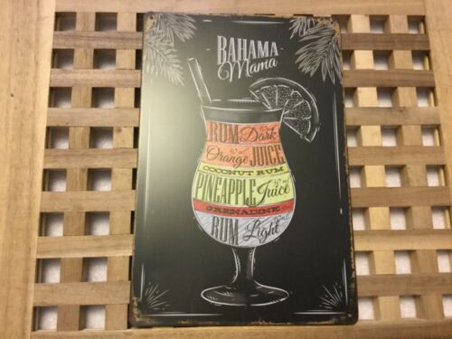 Vintage style rétro en métal étain signe Poster Cocktails Bahama Mama Wall Home