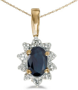 14k-Yellow-Gold-Oval-Sapphire-And-Diamond-Pendant-Chain-NOT-included