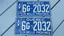 2 Car licence plate 1968 Plaque d'immatriculation Canada Québec 6G-2032