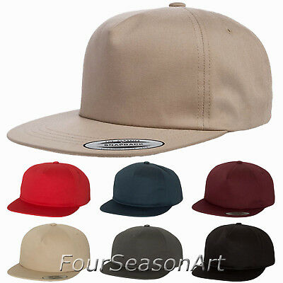 New for 2018 Yupoong Unstructured 5-Panel Snapback Cap softstrucutred Hat 6502