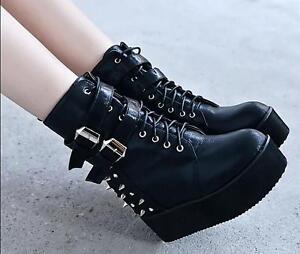 Womens-Punk-Rivet-Spike-High-Platform-Creeper-Wedge-Heels-Boots-Shoes
