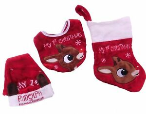 6967ce9c064 Rudolph The Red-Nosed Reindeer Baby s 1st Christmas Set Santa Hat ...