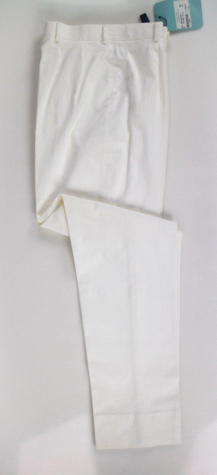 NWT Davide Cenci Women's White Cotton Blend Pants Size 4 40  395