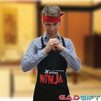 Kitchen Ninja Warrior Apron and Head Band Cooking Gift Set BBQ Kitchen Apron