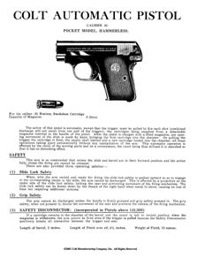 Colt Hammerless Pocket Automatic .25 Caliber Pistol Owner/'s Manual