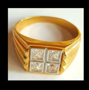 Men's Gold Plated Cocktail Ring Sizes 8 10 14.5  Square Cubic Zirconia Fashion