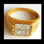 thumbnail 1 - Men's Gold Plated Cocktail Ring Sizes 8 10 14.5  Square Cubic Zirconia Fashion