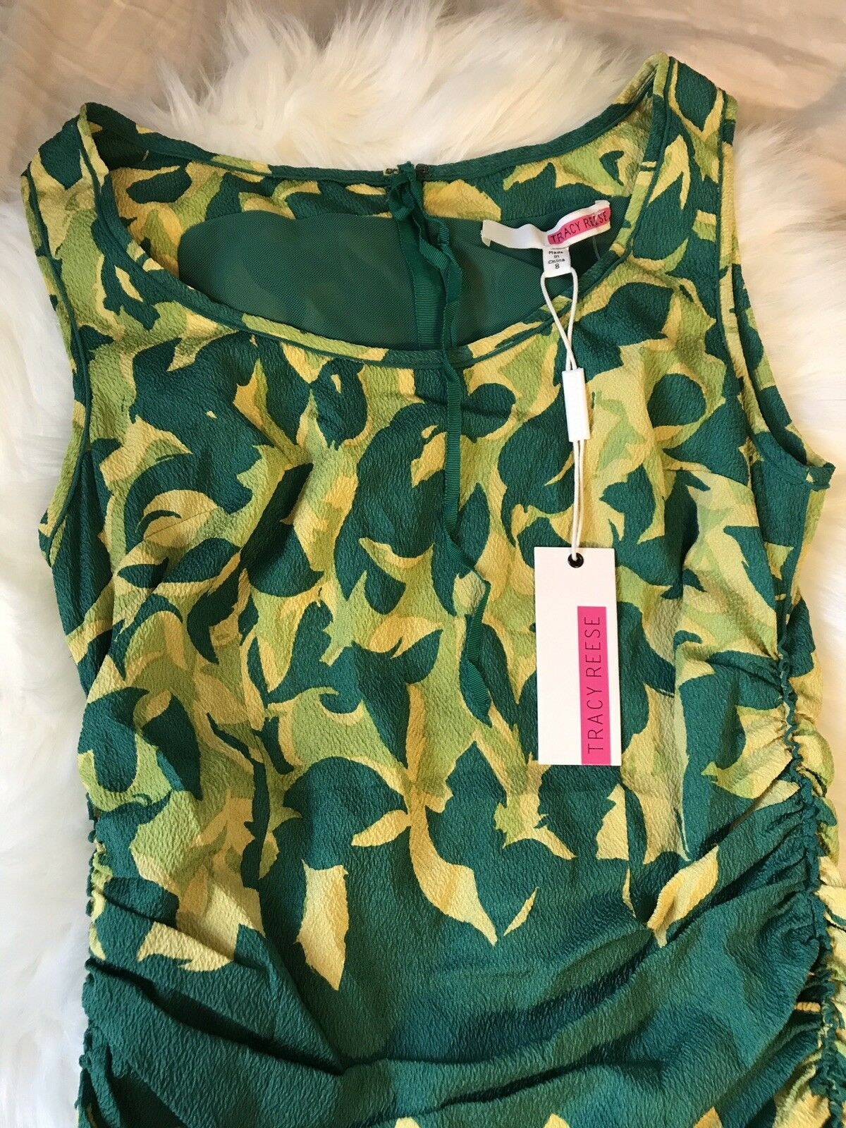 Tracy Reese Abstract Tulip Dress Yellow Green NWT Retail    300 08abbc