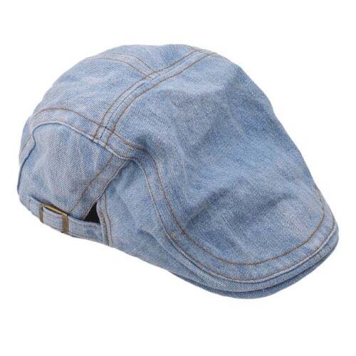 Men Women Retro Blue Denim Newsboy Cabbie Artist Driving Hat Cap Beret W