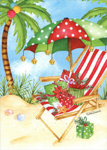 Tropical Christmas.Details About Polka Dot Umbrella Red Chair On Beach Box Of 18 Tropical Christmas Cards