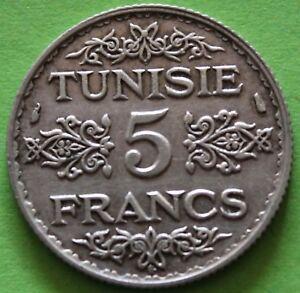 TUNISIE-5-FRANCS-1934-ARGENT