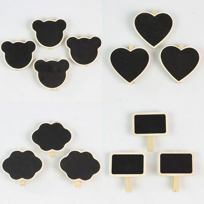 10Pcs Mini Blackboard Chalkboard Wooden Peg Clip Wedding Party Gift Card