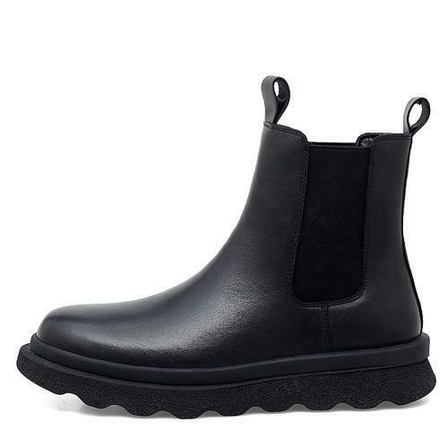 Men High Top Faux Leather Chelsea Boots Shoes Fur Inside Warm Business Pull on L