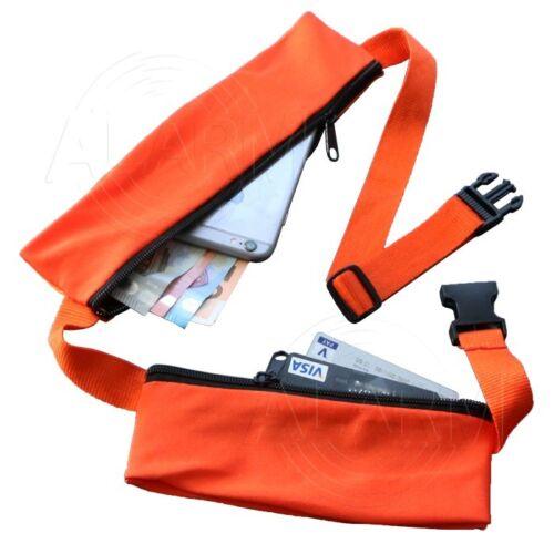 Safe Gürtel FLACHE Hüfttasche 2 Fächer 8 Farben Brust Bauch Schulter Reise Smart