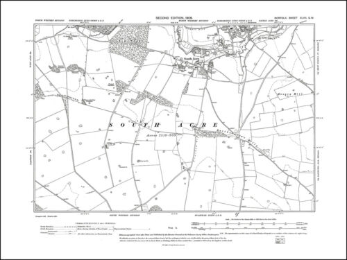 South Acre Old map of Castle Acre 47SW repro Norfolk in 1906