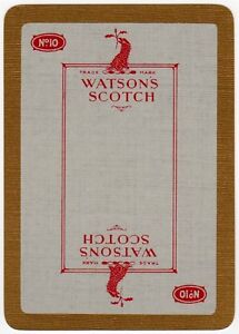 Playing-Cards-1-Single-Card-Old-Vintage-Wide-WATSONS-No10-Whisky-Advertising-Art