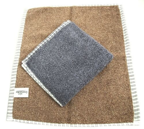 Serenade Twin Pack Luxury Thick Soft Men/'s Face Cloth Flannels Brown//Grey