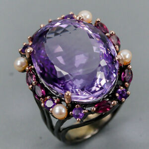 Amethyst-Ring-Silver-925-Sterling-Vintage-SET30ct-Size-8-R130357