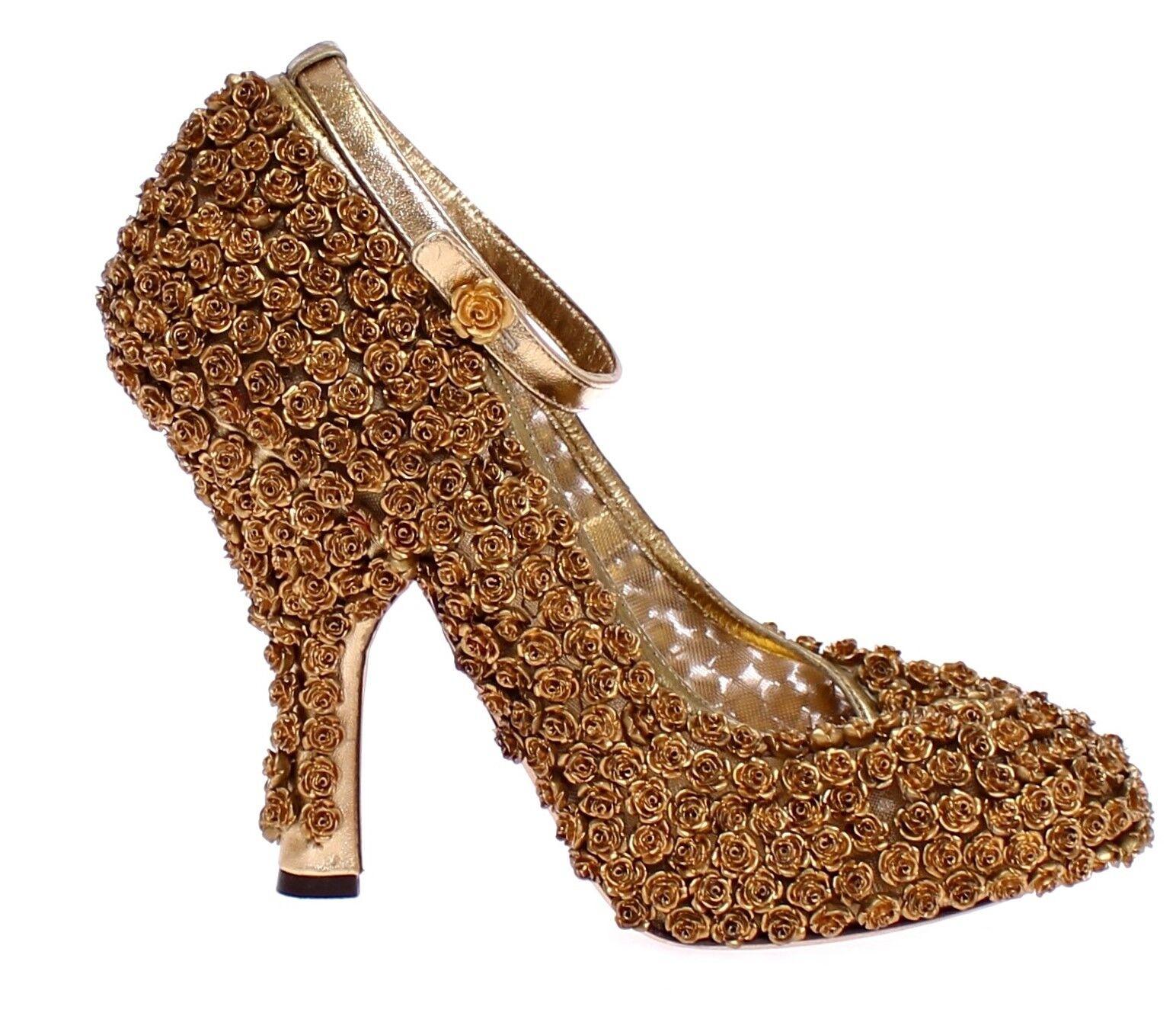 Descuento de liquidación NUEVO CON ETIQUETA DOLCE & GABBANA Floral Oro Metal Cuero Zapatillas S. EU39 /