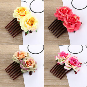 Women-Girl-039-s-Double-Silk-Rose-Flower-Hair-Comb-Clips-Pins-Wedding-Bridal-Party