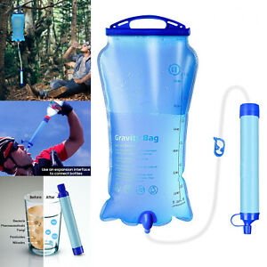 Portable Gravity Water Filter Purifier Straw for Outdoor Survival Camping Hiking