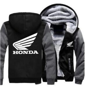 Honda Wings Hoodie Zip up Jacket Coat Winter Warm Black and Gray