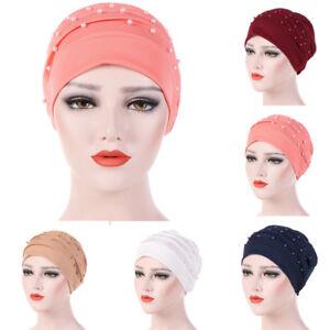 Womens-Beading-India-Hat-Muslim-Ruffle-Cancer-Chemo-Beanie-Scarf-Turban-Wrap-Cap