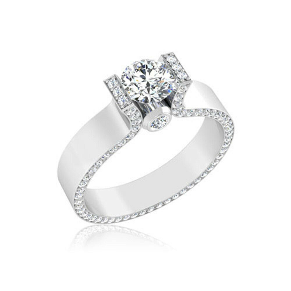 Real 0.92 Ct Round VS1 Diamond Engagement 14K Solid White gold Rings Hallmarked