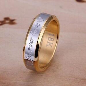 Bague-anneau-alliance-plaque-OR-18-K-grave-Forever-love-6-mm-Multi-tailles