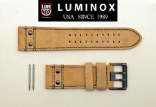 Luminox watch band 1880 Atacama Field Suede leather 26mm Tan strap 2 pin rivets