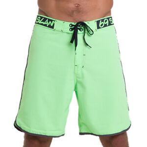 69Slam-Neon-Green-4-Ways-Stretch-Boardshorts-Size-40-Beach-Surf-Swim-Short