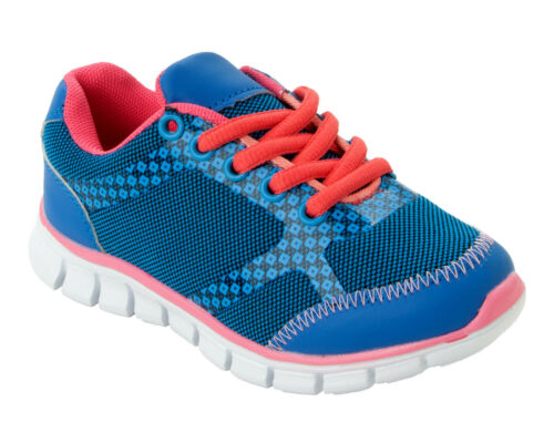 BOYS GIRLS REFLEX BLUE PINK MESH LACE UP TRAINERS SHOES KIDS UK SIZE 10-2