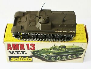 Vintage-Solido-Diecast-Military-Army-Tank-AMX-13-VTT-COMTE-Made-France-227