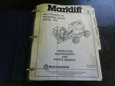 Marklift Model 60 I Self Propelled Boom Lift Operation Maintenance Parts  Manual | eBayeBay