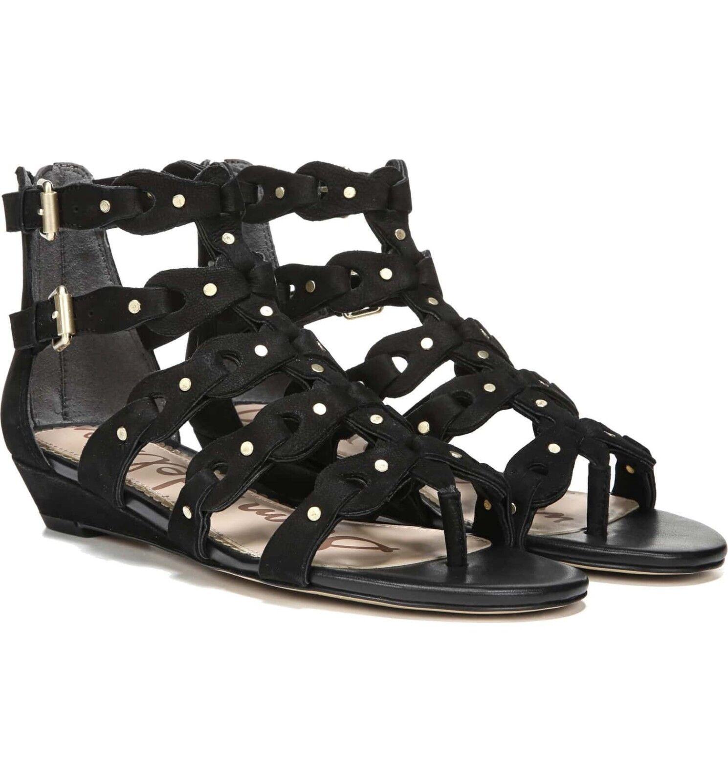 Sam Edelman Sandalias De De De Mujer De Gamuza Cuero Negro Tachonado Draper jaula Zapato 7M Nuevo  ventas en linea