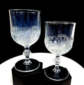 "SHELL & TASSEL DUNCAN & SONS EAPG NONFLINT CLEAR GLASS 2 PC 6 1/2"" GOBLETS 1881"