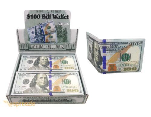 BOX DE 24 $100 cents dollar bill Portefeuille Bi-Fold carte de crédit Titulaire d/'argent nouveau