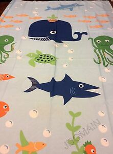 Ocean Sea Creatures Fabric Shower Curtain Light Blue Multi Color 70 X 72 New Ebay