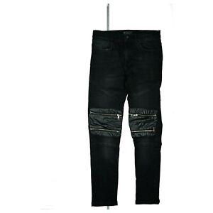 Zara Man Herren Jeans Hose stretch Slim Skinny Biker mit Zip W31 L32 Schwarz TOP