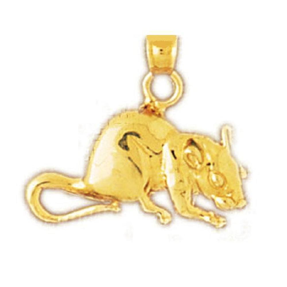 14k Yellow gold RAT, MOUSE Pendant   Charm, Made in USA