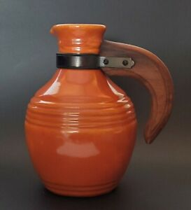 Pacific-Pottery-Carafe-Jug-438-Rust-Orange-Made-in-USA-8-1-2-034-Tall-Wood-Handle
