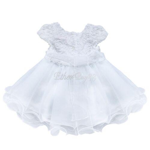 Infant Baby Girl Wedding Baptism Christening Easter Gown Flower Dress Bonnet