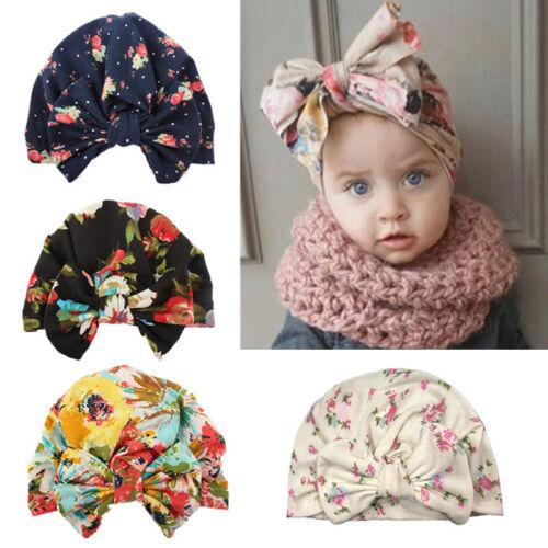 Doux Bébé Chapeau Imprimé Floral Coton Noeud Turban Enfant Beanie Cap