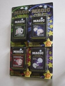 4 MAGIC PLAYING CARDS TRICK MARKED GAME NOVELTY DECKS 80 TRICKS C MY OTHER ITEMS