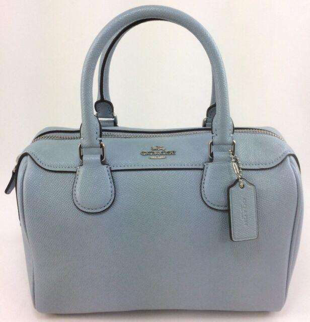 dae53ac9fd00e New Authentic Coach F31377 Mini Bennett Satchel Glitter Leather Pale Blue