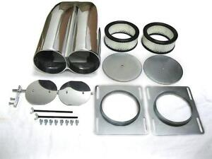 Polished-Aluminum-Smooth-Top-Shotgun-Intake-Hood-Scoop-with-Element-amp-Hardware
