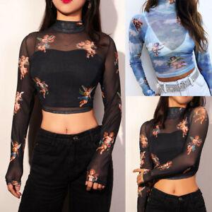 Womens See through Lace Dragon Mesh Sheer Long Sleeve Crop Top T Shirt Blouse