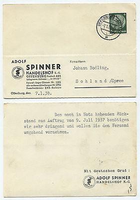 """Postkarte """"mit Deutschem Gruß Adolf Spinner"""" Offenburg 7.1.1938 ! In Den Spezifikationen VervollstäNdigen 22303"""